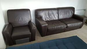 Beautiful Brown Pure Leather Couch (2.5 seater) + Recliner North Melbourne Melbourne City Preview