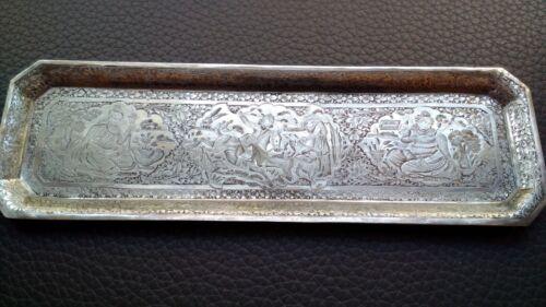 PERSIAN ART EXHIBITION, ANTIQUE MUSEUM PIECE SOLID SILVER TRAY