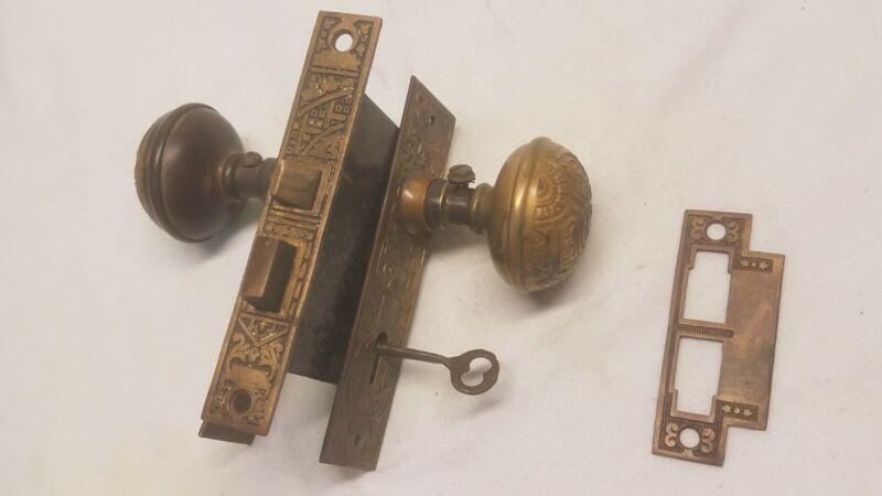 Vintage Antique Eastlake Victorian Brass/Bronze Mortise Lock Set Complete w/key
