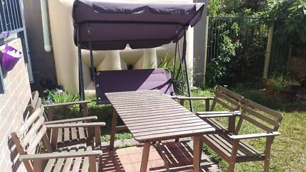 Outdoor table with 4 chears and a swing Hornsby Hornsby Area Preview