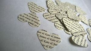 150 Personalised Wedding Heart Table Confetti Vintage Cream Ivory Bride Groom