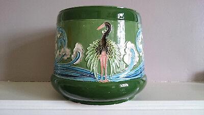 Antique Eichwald Bohemia Secessionist Majolica Green Planter Jardiniere cranes