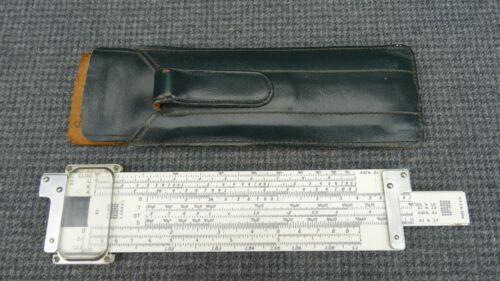 "(B20) K&E 4181-1 7"" Plastic Slide Rule w/ Leather Holster Pocket Clip Case"