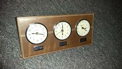 Bey-Berk CLOCK Triple Time Zone in Brown Leather