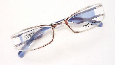 Brille Fassung Design stylish cool teilrandlos silber blauweiß schmal Grösse M