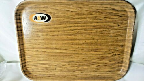A&W Food Serving Tray Cambro Camtray Woodgrain Look Vintage Auto Drive In