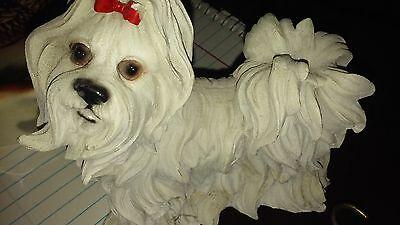 white dog, long haired, yorkie?, shih tzu ?, resin statue