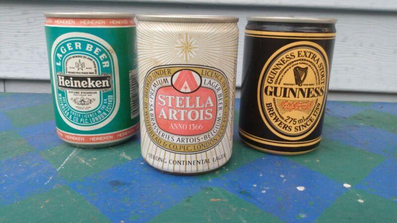 🍻(3)~VINTAGE 275ml BEER CANS FROM ENGLAND GUINNESS,STELLA ARTOIS, HEINEKEN