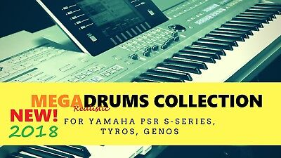 MEGADRUMS COLLECTION pack for Yamaha S670, S770, S970, S975, Tyros 5, Genos for sale  Shipping to India