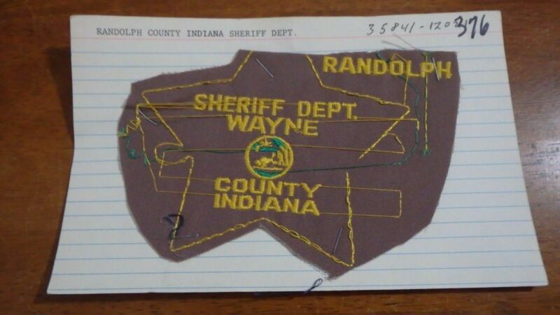 SHERIFF DEPART WAYNE COUNTY INDIANA  SALESMAN COPY  OBSOLETE PATCH BX SP 376