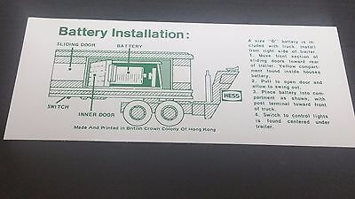 Hess  1975  / 1976  BARREL TRUCK BATTERY INSTRUCTION CARD SWEET