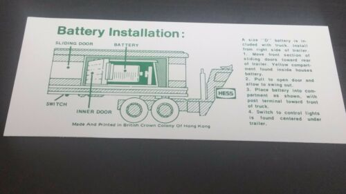1 Hess  1975  / 1976  BARREL TRUCK BATTERY INSTRUCTION CARD