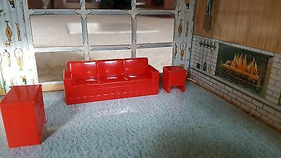 Vintage Marx Dollhouse Miniature Red Plastic Living Room Couch End Table TV