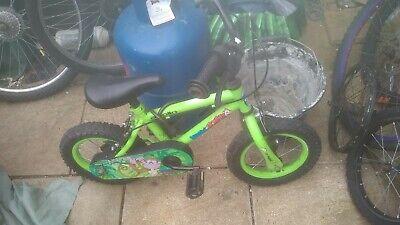 "Green marvin monkey 12"" boy. girl. unisex. bike with no stabilisers. fab."