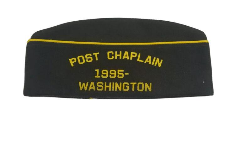 Vintage VFW 2224 Post Chaplain Life Member Garrison Cap Puyallup WA  T5