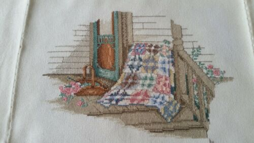 Paula Vaughan Finished Completed Cross Stitch ~ Friendship Bouquet ~ Quilt Porch