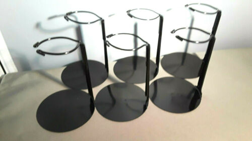 Action Figure Doll Stands  set of 6 Black Metal stands for 6 to 12 inch Dolls