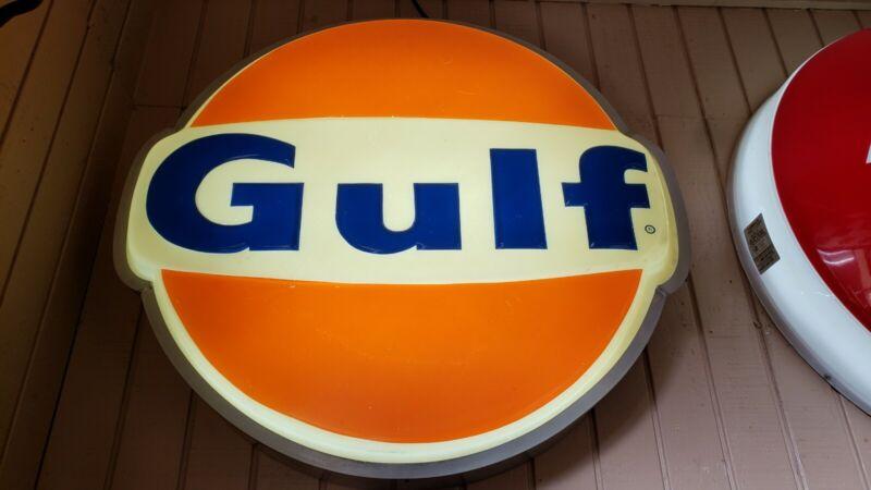 """ORIGINAL Vintage Lighted GULF Station Sign 36"""""""