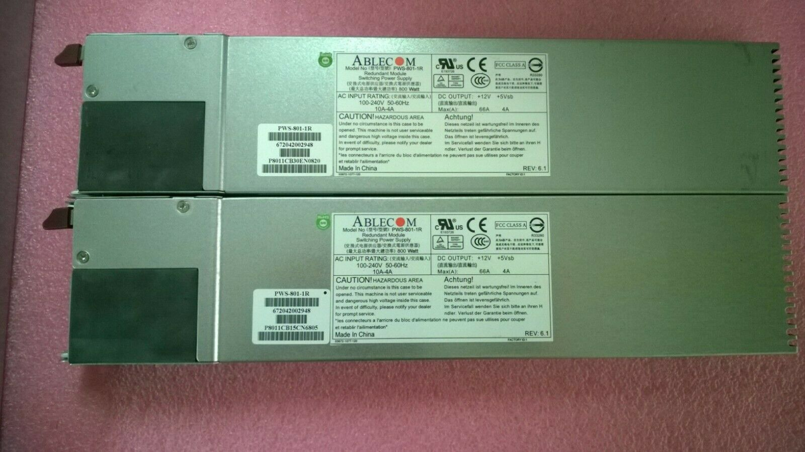 1 lot of 2 Ablecom PWS-801-1R Redundant Module Switching Power Supply