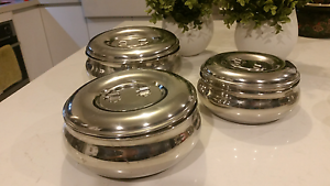Set of 3 Stainless steel serving bowls /containers Albert Park Port Phillip Preview
