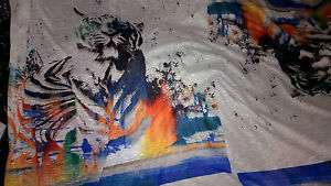 Tissu jersey flamme gros motif tigre 75x75 cm ebay for Fenetre 75x75