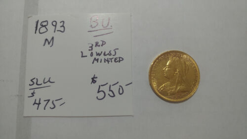 1893-M Gold Sovereign - Jubilee Head -third lowest mintage - Free Shipping