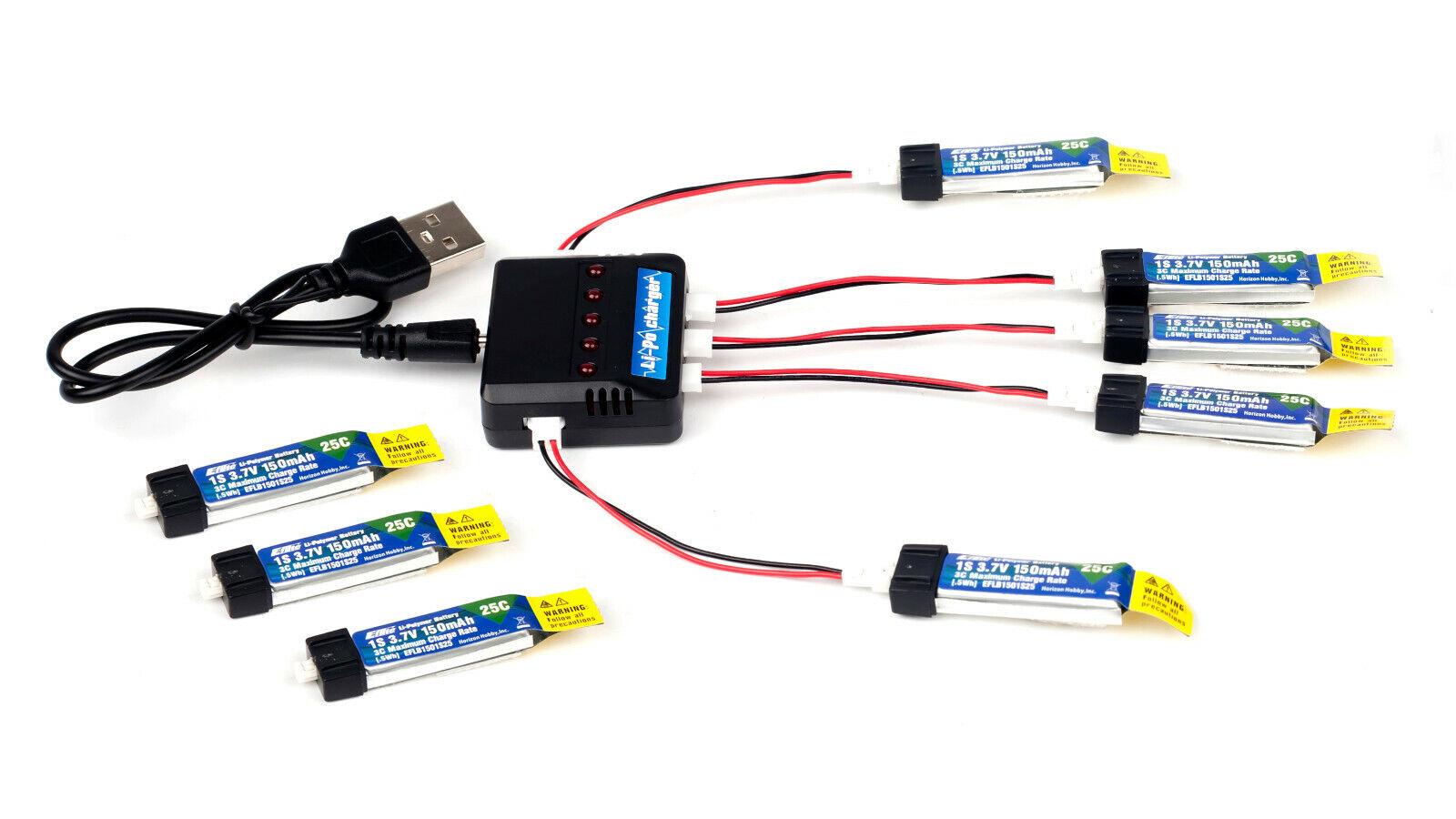 Combo 1x Charger and 8x 150mah 1s 3.7v 25c Lipo Battery E-Fl