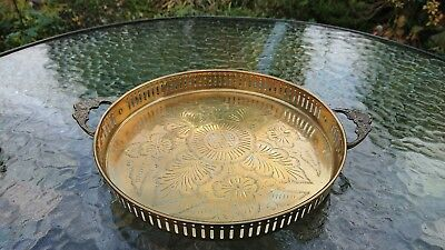 """Vintage 9.5"""" Etched Brass Handled Gallery Tray Marked JM John Marston ?"""