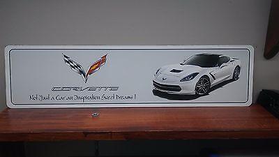 """Corvette C7 White Aluminum Sign 6"""" x 24"""""""