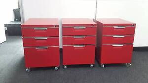 Red mobile pedestals / 3 drawers with keys - $65 each Carlton Melbourne City Preview