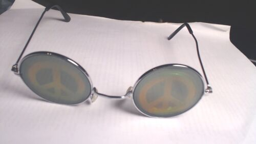 Hippie sun glasses with see through peace sign on lens glass/chrome