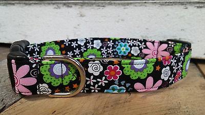 black pink green flowers designer dog collar martingale with leash set - Designer Dog Collar Martingale