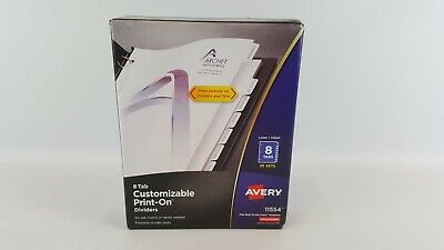Avery 8-tab Print-on Binder Dividers White Tabs 25 Sets 11554 Brand New