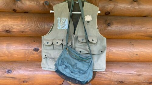 Vintage Fishing Vest and Fishing Creel Cabin Lake House Cottage Lodge Home Decor