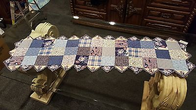 """Quilts by Donna Sharp Runner Valance Handcrafted Sapphire Rose 56"""" L x 16"""" W"""