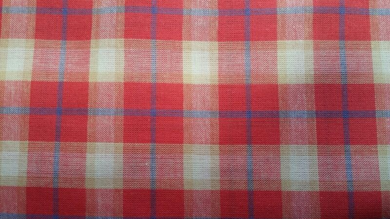 "1. yard 100% Cotton Lawn Plaid Printed Red/Navy/Oyster color and 57""/58"" width"