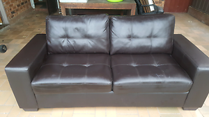 Dark brown leather couch (sofa bed) Tempe Marrickville Area Preview