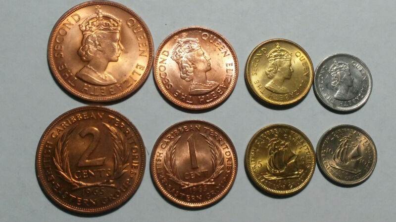 BRITISH CARIBBEAN TERRITORIES: 4 PIECE AU-UNCIRCULATED COIN SET, 1 TO 10 CENTS