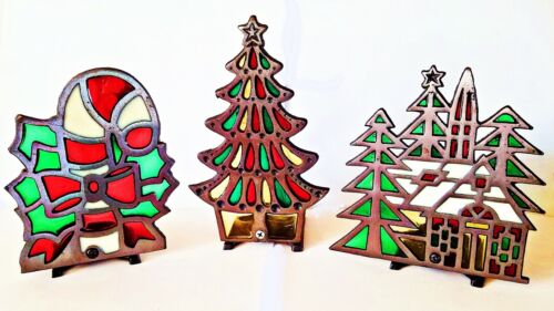 3 TIFFANY STYLE Stained Glass CHURCH TREE CANDY CANE Glo Candle Holder Cast Iron