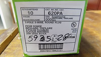 New Leviton 620pa 2 Pole 3 Wire Round Plug Dead Front 20 Amp 250v Qty. 10