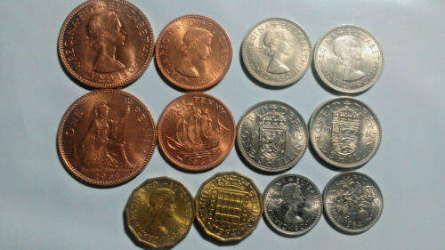 GREAT BRITAIN: 1964 SIX-PIECE UNCIRCULATED COIN SET, 1/2 PENNY TO SHILLING