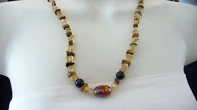 #34 vtg costume Necklace YELLOW Brown Chunks w 1 Venetian glass bead Brown Venetian Necklace