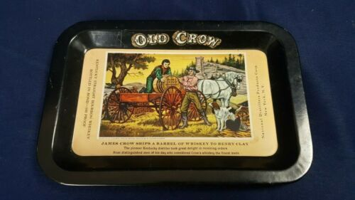 """Vintage Old Crow Bourbon Whiskey Metal Tip Tray 4x6"""" Barrel Delivery Print VG"""