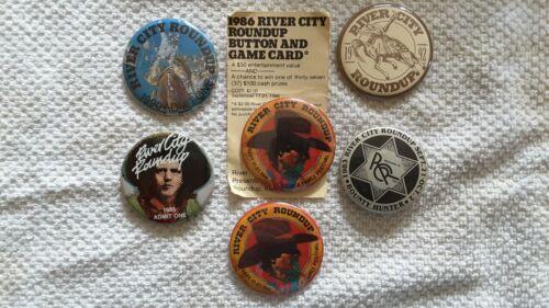 Vintage River City Rounup Button Pinbacks, 1983-1992 Aksarben Omaha Ne Lot 6