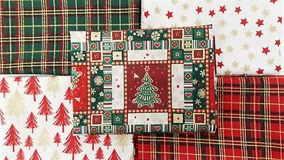 XMAS-Tartan-Glitter-Traditional CHRISTMAS FESTIVE FAT QUARTERS 5 pack BUNDLE  ()