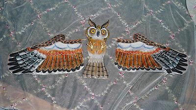 used handmade wood fabric hand painted detailed owl kite bird of prey