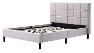 Rico Deluxe Beige Linen Fabric Bed Frame Double
