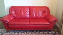 Flawless Red Leather 3-Seat Sofa Palmyra Melville Area Preview