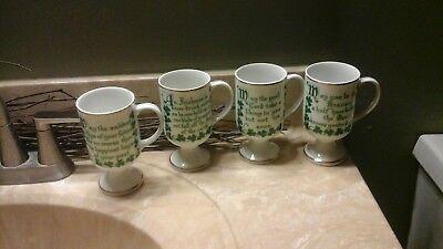 Pedestal Mugs Set (VINTAGE IRISH COFFEE PEDESTAL MUGS - SET OF 4 - BLESSINGS / QUOTES 8)