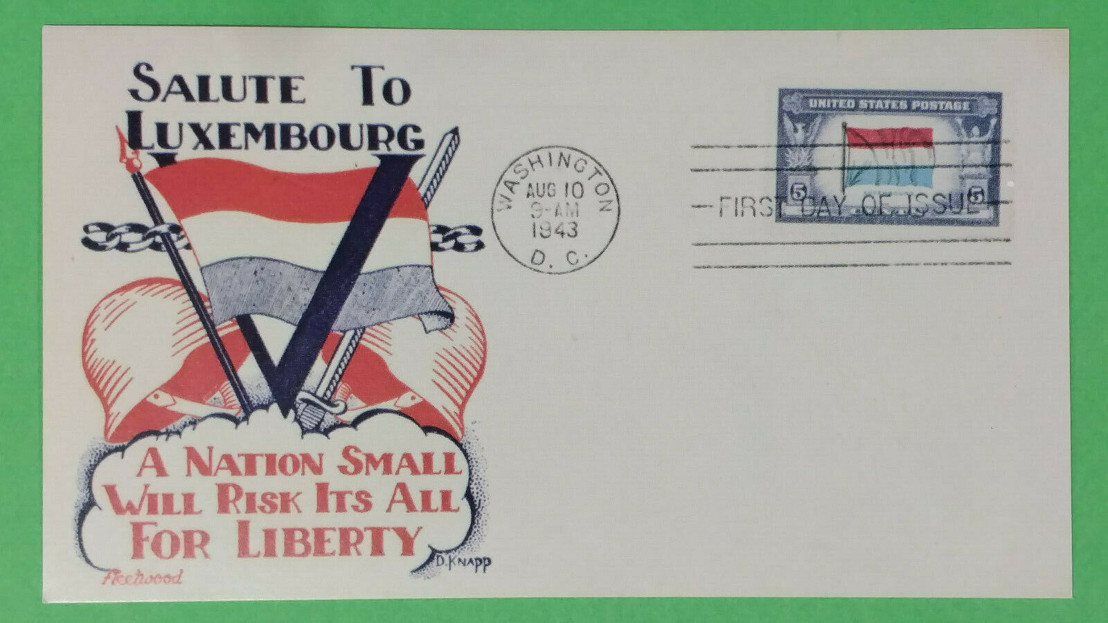 Salute To Luxembourg - Facsimile FDC - Fleetwood Cachet - Aug. 10, 1943 - VGC - $3.39